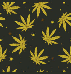 Seamless pattern with cannabis leaves and stars vector