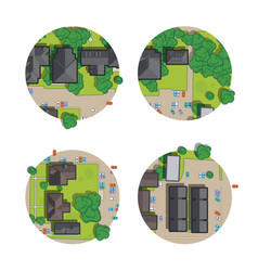 set city top view from rooftops trees cars vector image