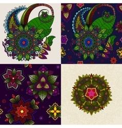 set hand drawn mandala and seamless vector image