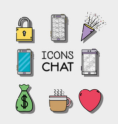 Set mobile icons chat message vector
