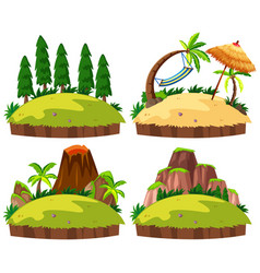 Set of islands white background vector