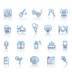 set of party related line icons vector image