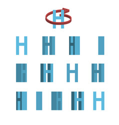 Sheet of sprites rotation of cartoon 3d letter h vector
