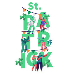 St patrick day people character celebrate banner vector