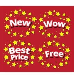 Starbursts set sale banner promotion set vector