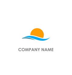 sunset ocean beach logo vector image