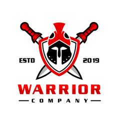 sword soldier head shield logo design vector image