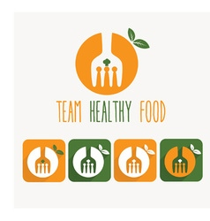 team healthy food and web icons vector image