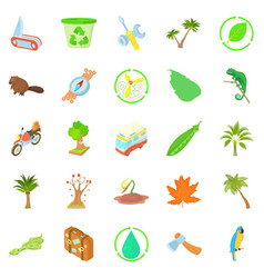 Tourist meeting icons set cartoon style vector
