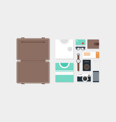 travel element and object layout concept flat vector image