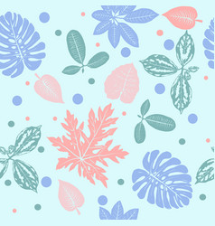 Tropical plants leaves seamless pattern vector