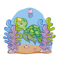 turtle and jellyfish animal with seaweed plants vector image