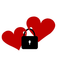 two hearts locked with the lock vector image