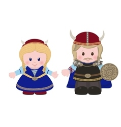 Vikings man and woman in ancient scandinavian vector image
