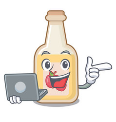 With laptop cartoon apple cider in a glass vector