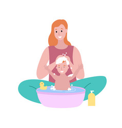 Woman sitting with bamom washing child isolated vector