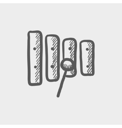 Xylophone with mallet sketch icon vector image