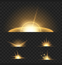 yelllow glowing lights on black transparent vector image