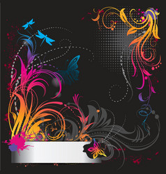 border with flower ornament with butterfly vector image vector image