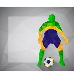 Brazilian football player with ball in triangles5 vector image vector image