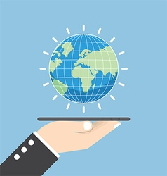 Businessman hand holding tablet with globe vector image vector image