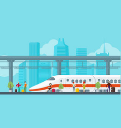 colorful train station concept vector image