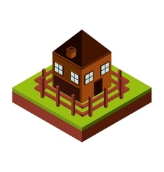 fence and house icon Isometric design vector image