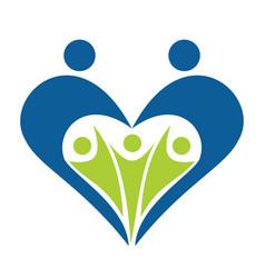 heart shape family logo design vector image vector image