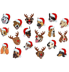 set of dogs for christmas vector image vector image