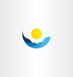 water waves sun icon logo element sign vector image