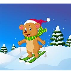 Cartoon bear skiing down a mountain slope vector image