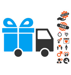 gift delivery van icon with lovely bonus vector image