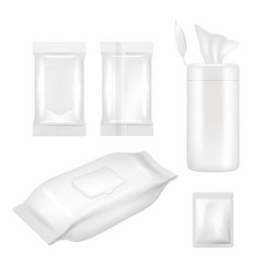 realistic white blank wet wipes packaging vector image
