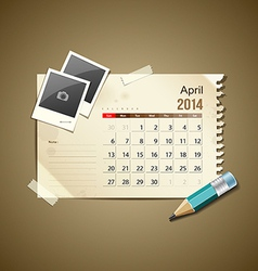 Calendar April 2014 vector image vector image
