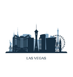 las vegas skyline monochrome silhouette vector image