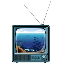 retro tv with sea view vector image vector image