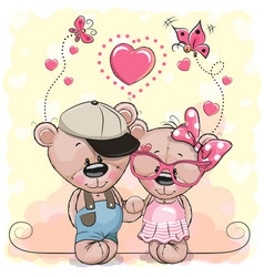 two bears on a hearts background vector image vector image