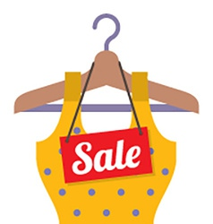 Woman Clothes On Hanger With Sale Tag vector image vector image