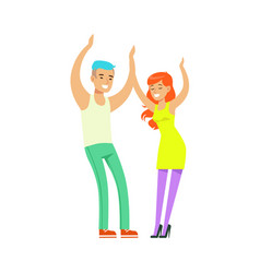 Young fashion couple in casual clothes dancing at vector