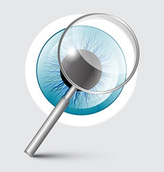 Magnifying Glass with Blue Eye vector image vector image