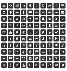 100 asia icons set black vector