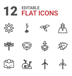12 environment icons vector