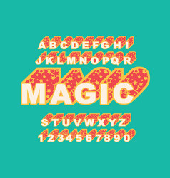 80 s retro alphabet font magic typography vector image