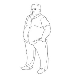 A bald man with obesity vector