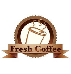 A fresh coffee label with a disposable coffee vector