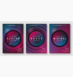 Abstract geometric electronic music posters vector