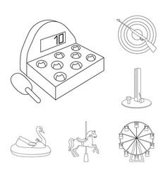 Amusement park outline icons in set collection for vector