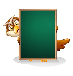 An owl hiding at the back of a blackboard vector