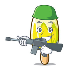 Army lemon ice cream character cartoon vector