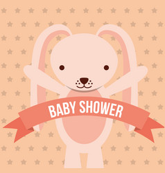 baby shower pink bunny ribbon dots background card vector image